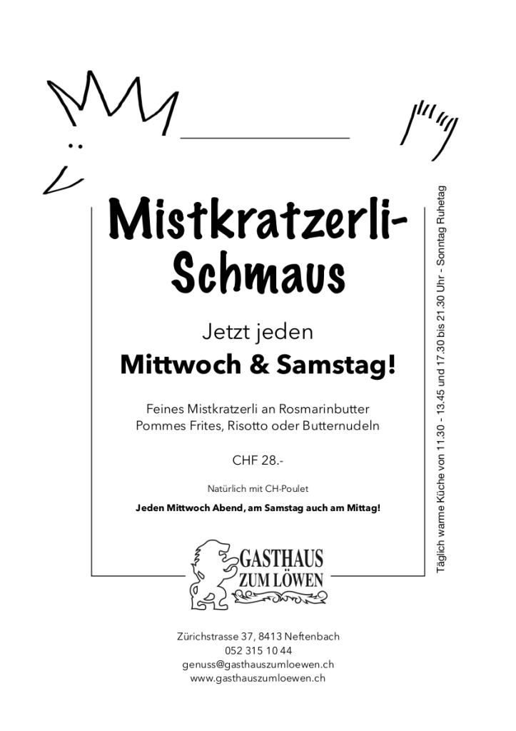 Essen Mistkratzerli Neftenbach Löwen Geflügel Angebot Restaurant Hotel Gartenwirtschaft Wein Bier Lokal Saisonal Schweizer Küche