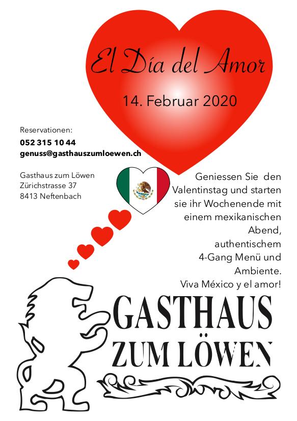 Valentinstag Essen Mexiko Menü Geniessen Feiern Die del Amor Liebe 14. Februar Reservieren Winterthur Neftenbach