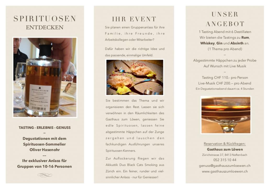 Spirituosen Gruppen Anlass Event Tasting Rum Gin Whisky Whiskey Absinth Destillate Hasenohr Essen Trinken Neftenbach Winterthur Bülach Embrach Schaffhausen